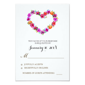 Watercolor Floral Heart Shaped Wedding RSVP Card
