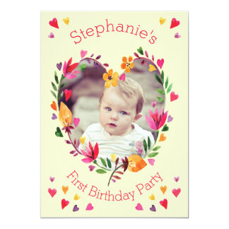 One Year Old Baby Girl Birthday Invitations Announcements Zazzle - Birthday invitation 1 year old baby girl