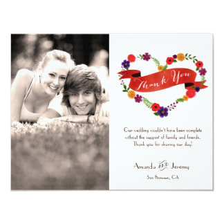 Watercolor Floral Heart Wreath Thank You Photo 4.25x5.5 Paper Invitation Card