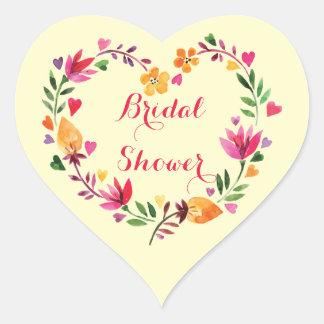 Watercolor Floral Hearts Wreath Bridal Shower Heart Sticker