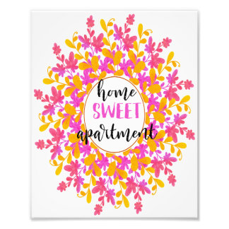 Watercolor Floral Home Sweet Apartment Wall Art