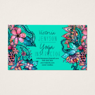 Watercolor floral illustration yoga instructor 2 business card