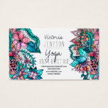 "Watercolor floral illustration yoga instructor business card<br><div class=""desc"">A modern yoga instructor business card,  boho,  hand painted watercolor floral illustration  in pastel pink,  turquoise,  teal,  turquoise watercolours,  the background color is fully customizable</div>"