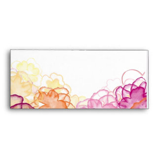 Watercolor Floral in Pink, Purple, and Orange Envelopes