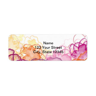 Watercolor Floral in Pink, Purple, and Orange Label