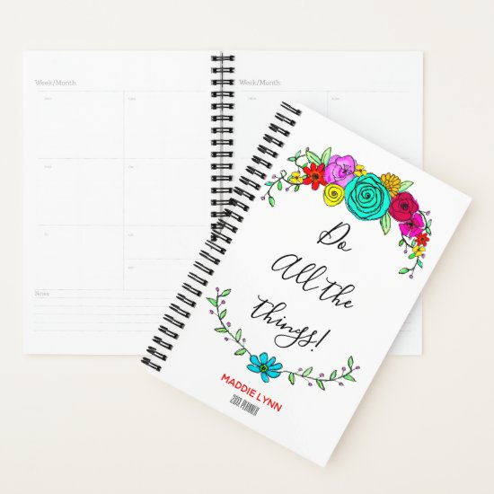Watercolor Floral Inspirational Quote Fun Add Name Planner