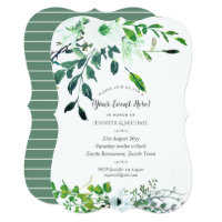 Watercolor Floral Invite Sage Blue White ANY EVENT
