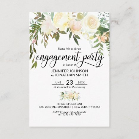 """Watercolor Floral Ivory Engagement Party 3.5""""x5"""" Invitation"""