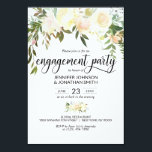 "Watercolor Floral Ivory Engagement Party 3.5""x5"" Invitation<br><div class=""desc"">*** SIZE is 3.5""x5"" - other sizes available *** Simply elegant floral rustic bouquet design in hand painted watercolor (watercolour) green greenery, blush pink, beige, champagne, cream, vanilla, peach, white flower roses / peony on white background and black letters. Delicate engagement party invitations for that spring or summer theme. Back...</div>"