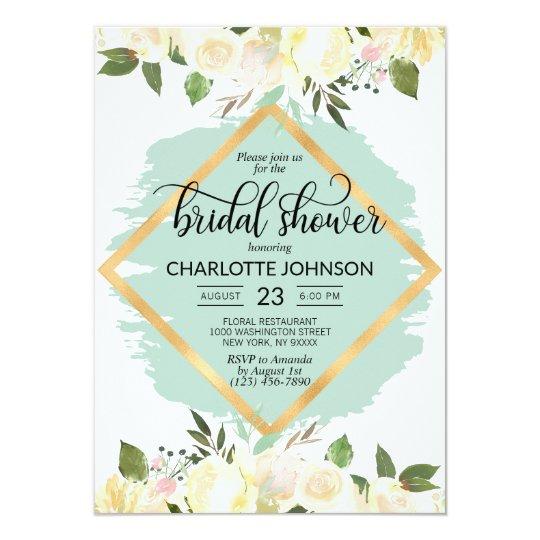ffd9819bebc0 Watercolor Floral Ivory Mint Gold Bridal Shower Invitation