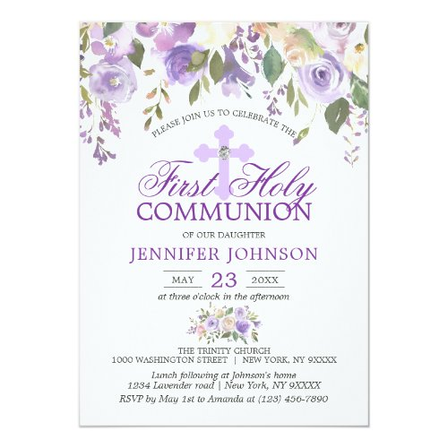 Watercolor Floral Lavender First Holy Communion Invitation