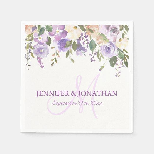 Watercolor Floral Lavender Purple Wreath Wedding Napkins Zazzle Com