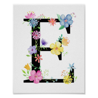 Watercolor Floral Letter E Poster