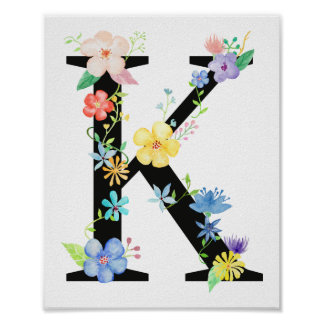 Watercolor Floral Letter K Poster