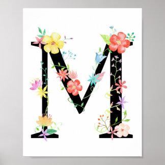 Watercolor Floral Letter M Poster