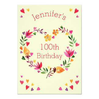 Watercolor Floral Love Heart Wreath 100th Birthday Card