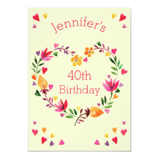 "Watercolor Floral Love Heart Wreath 40th Birthday 5"" X 7"" Invitation Card"