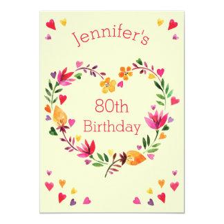 Watercolor Floral Love Heart Wreath 80th Birthday 5x7 Paper Invitation Card