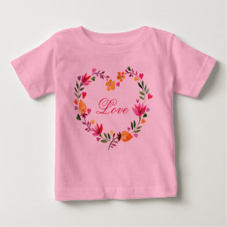 Watercolor Floral Love Heart Wreath Baby T-Shirt
