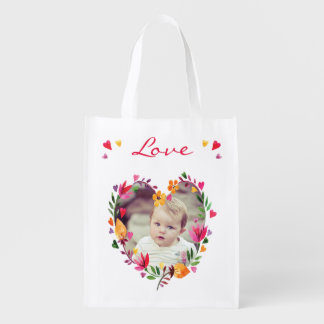 Watercolor Floral Love Hearts Wreath Photo Grocery Bag