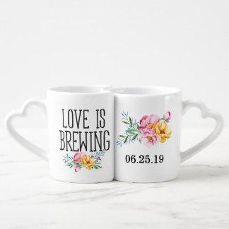 Watercolor Floral Love is Brewing Wedding Coffee Mug Set