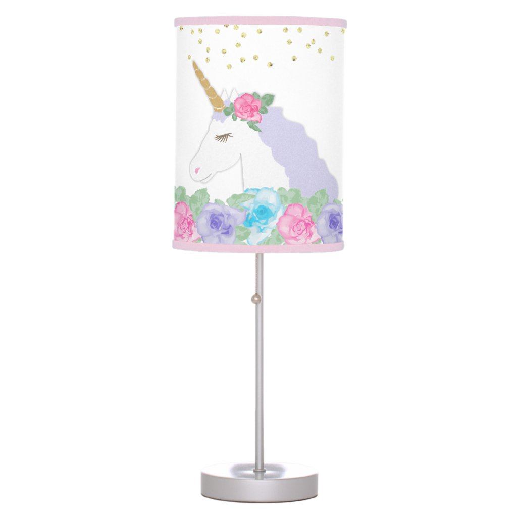 Watercolor Floral Magical Unicorn table Lamp