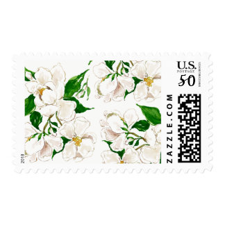 Watercolor Floral Magnolia Pattern Postage Stamps
