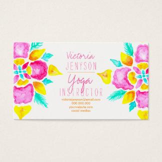 Watercolor floral mandala yoga instructor business card