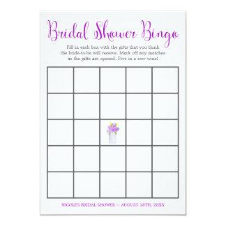 Watercolor Floral Mason Jar Bridal Shower Bingo Card