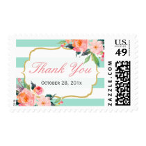Watercolor Floral Mint Green Stripes Thank You Postage
