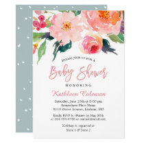 Watercolor Floral Modern Classy Baby Shower Card