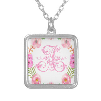 Watercolor Floral Monogram Letter A Silver Plated Necklace