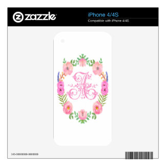 Watercolor Floral Monogram Letter A Skin For iPhone 4