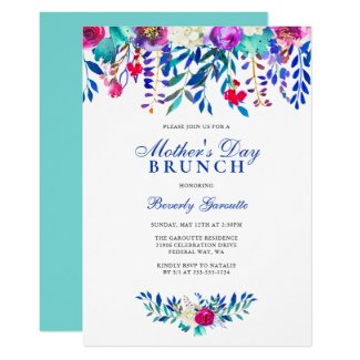 Watercolor Floral Mother's Day Brunch Invitation