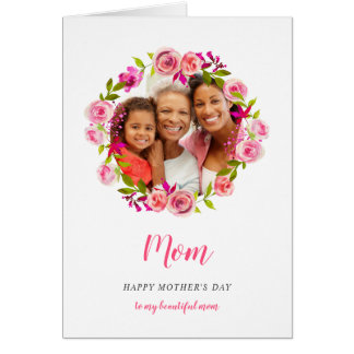 Watercolor Floral Mother's Day Photo Card for Mom