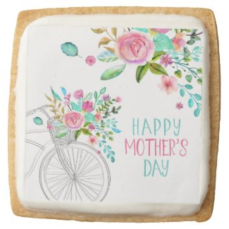 Watercolor Floral Mother's Day Square Shortbread Cookie