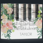 """watercolor floral music piano keyboard notes binder<br><div class=""""desc"""">personalized girly elegant music binder</div>"""