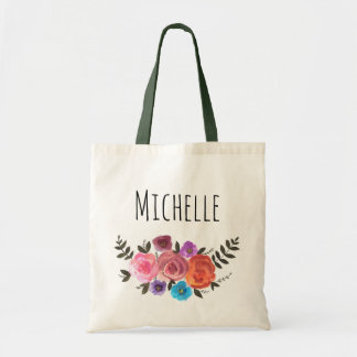 Watercolor Floral Name Tote Bag