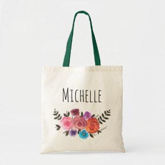 Watercolor Floral Name Tote Bag