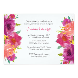 Watercolor Floral Naming Ceremony Personalized Card