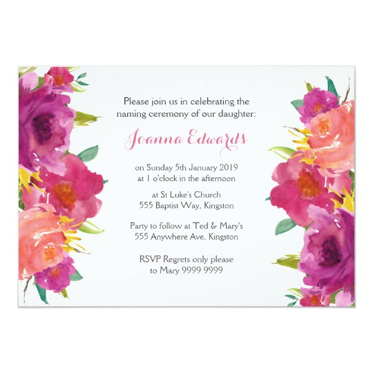 Watercolor floral naming ceremony personalized invitation zazzle watercolor floral naming ceremony personalized invitation m4hsunfo