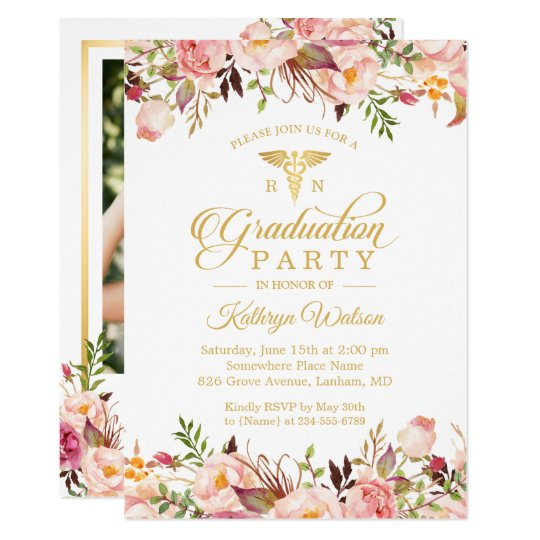 watercolor floral nurse graduate photo graduation invitation