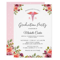 Watercolor Floral Nursing School Graduation Party Card