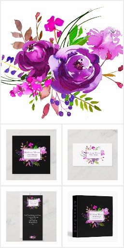 Watercolor Floral Office Designs