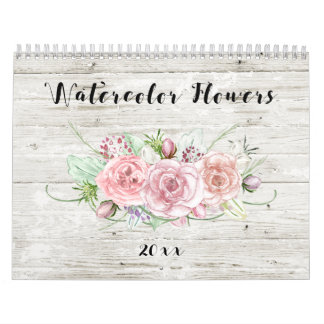 Watercolor Floral on Rustic Wood Calendar