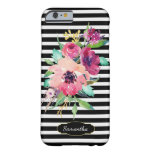 Watercolor Floral on Stripes with Monogram Barely There iPhone 6 Case
