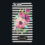 "Watercolor Floral on Stripes with Monogram Barely There iPhone 6 Case<br><div class=""desc"">A colorful watercolor floral arrangement sits atop a black and palest gray striped background. Insert your name,  monogram or other text in place of the sample name shown for a custom phone case.</div>"
