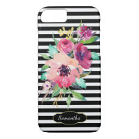 Watercolor Floral on Stripes with Monogram iPhone 7 Case