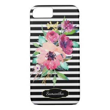 dancingpelican Watercolor Floral on Stripes with Monogram iPhone 7 Case