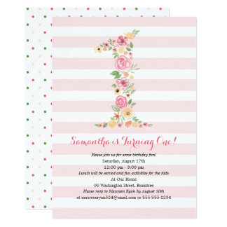 Watercolor Floral One First Birthday Card